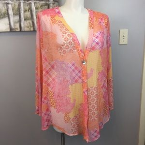 Susan Graver Sheer Cover Up Shawl Pink Orange 3X
